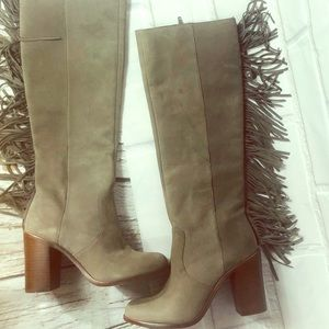 GIANNI BINI Fringe gray leather boots block heel